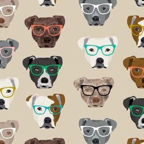 pitbull heads glasses fabric - pitbull fabric, dog fabric, pitty fabric, glasses fabric, dog glasses fabric - cute dog - tan