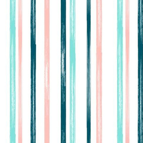 Pink and teal stripe - coordinate - LAD19