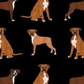 boxer pet quilt a dog breed nursery coordinate - black