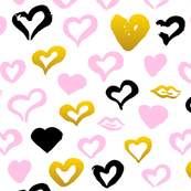Pastel Pink Gold Hearts Pattern Fabric
