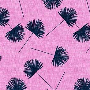 fan palm - blue on dark pink - palm leaves - LAD19
