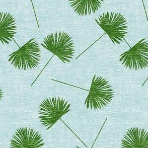 fan palm - green on blue - palm leaves - LAD19