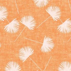 fan palm - light pink on light orange - palm leaves - LAD19