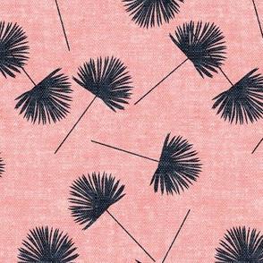 fan palm - blue on pink - palm leaves - LAD19