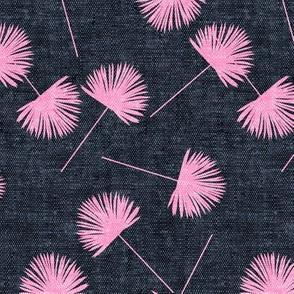 fan palm - pink on blue - palm leaves - LAD19