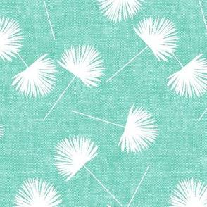 fan palm - teal - palm leaves - LAD19