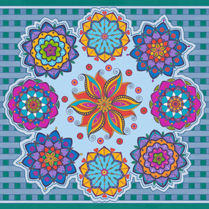 pretty mandala flower playmat