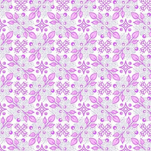 Folk floral - purple on white