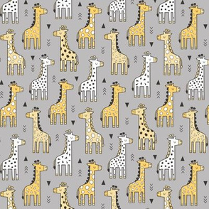 Giraffe Geometric and Triangles in Black&White Yellow on Grey Smaller 1,75 inch