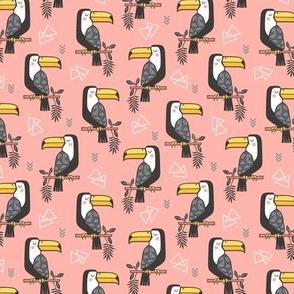Toucan Bird Tropical Geometric Triangles on Peach Smaller 1,9 inch