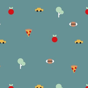 Happy summer day manhattan new york city travel geometric icons football  taxi big apple and pizza blue boys