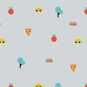 Happy summer day manhattan new york city travel geometric icons taxi big apple and pizza