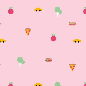 Happy summer day manhattan new york city travel geometric icons hamburger` taxi big apple and pizza pink girls