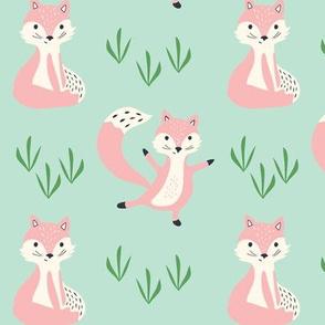 pink fox - mint green background