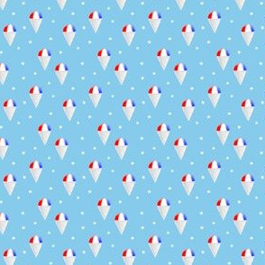 (micro scale) Red White and Blue snow cones - light blue with stars - LAD19BS