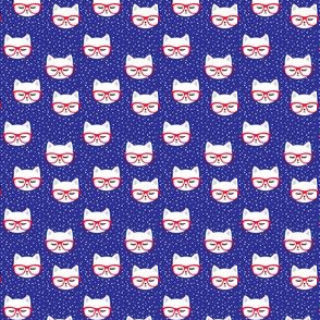 (micro scale) cat with glasses - red on blue C19BS