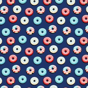 (micro scale) Stars and Stripes - Flag Donuts - Dark Blue LAD19BS