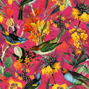 "13"" Antique birds and flowers on yellow, antique bird fabric, birds fabric on red double"