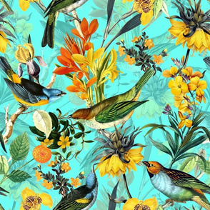 "13"" Antique birds and flowers on yellow, antique bird fabric, birds fabric on teal double"