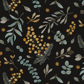 Australian native wattle eucalyptus watercolor floral - MEDIUM SCALE