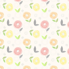 Abstract Spring Watercolor Flowers Pattern