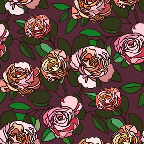 Stained glass roses on maroon - small