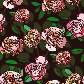 Stained glass roses on black - small
