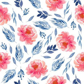 Navy And Coral Peony Watercolor