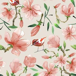Magnolia Songbirds in  Spring Wood