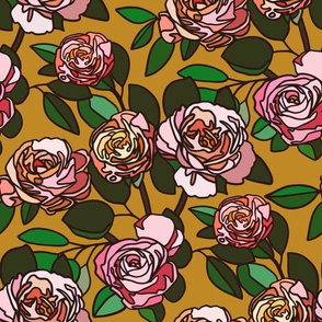Stained glass roses on mustard - small
