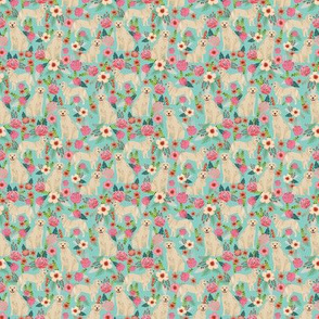 TINY - Golden Retriever, dog dogs, florals, flowers, cute nursery baby girls pastel mint all  over dog print