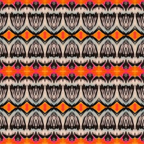 Blue Tulip Flowers, on Orange and Pink Backgrounds