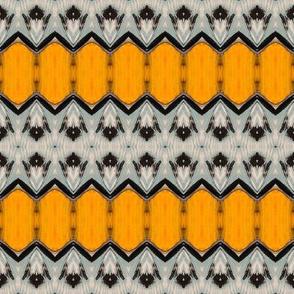 Yellow Diamonds, Light Blue Flower Border Pattern