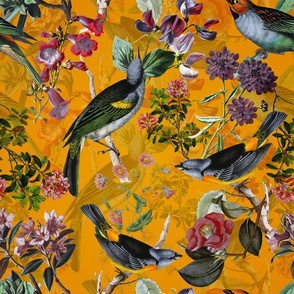 "14"" Antique birds and flowers on yellow, antique bird fabric, birds fabric on yellow"