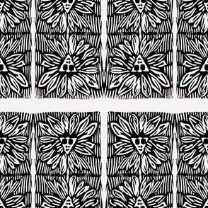 Black and white rough texture sunflower face blocks