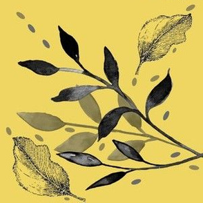 Charcoal and Gray Leaves on Yellow