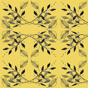 Mirrored Gray Leaves on Yellow