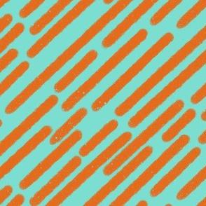 Orange lines on bright teal