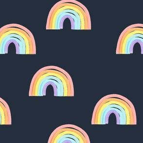 rainbows pastel on blue - LAD19
