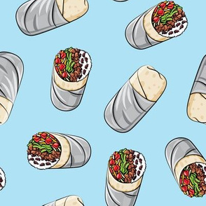 burrito toss on light blue - tex-mex food  LAD19