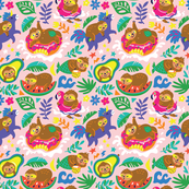 relaxing sloths_pink bg