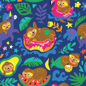 relaxing sloths_night bg