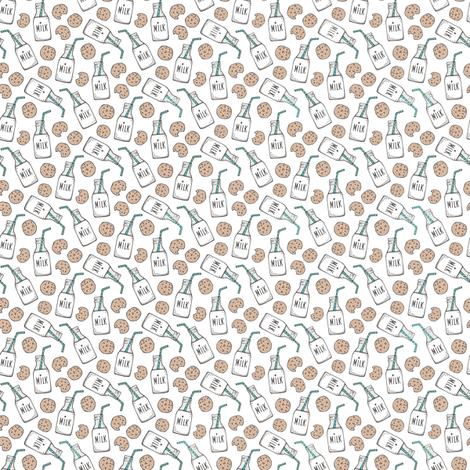 Milk and Cookies on White Tiny Small 0,75 inch fabric by caja_design on Spoonflower - custom fabric