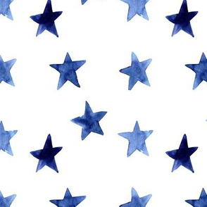Watercolor Blue Stars