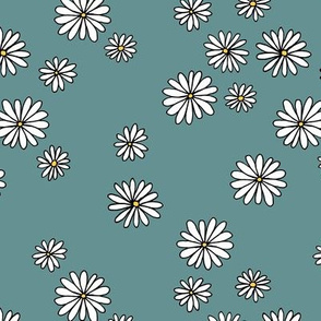 Little daisy garden boho spring daisies in trend colors yellow white stone gray blue