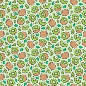 Kiwi Fruits on Light Green Tiny Small 0,75 inch