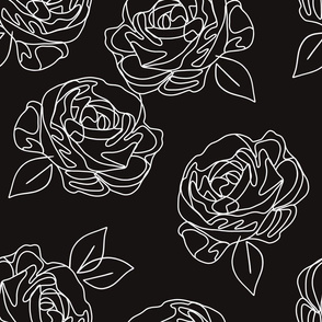 Minimalist roses black and white 18""