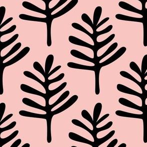 Minimal paper cut style little tree design organic garden leaves fall peach pink JUMBO