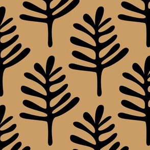 Minimal paper cut style little tree design organic garden leaves fall gold black JUMBO
