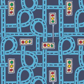 Blue Roadways Playmat Traffic Lights Kids Children